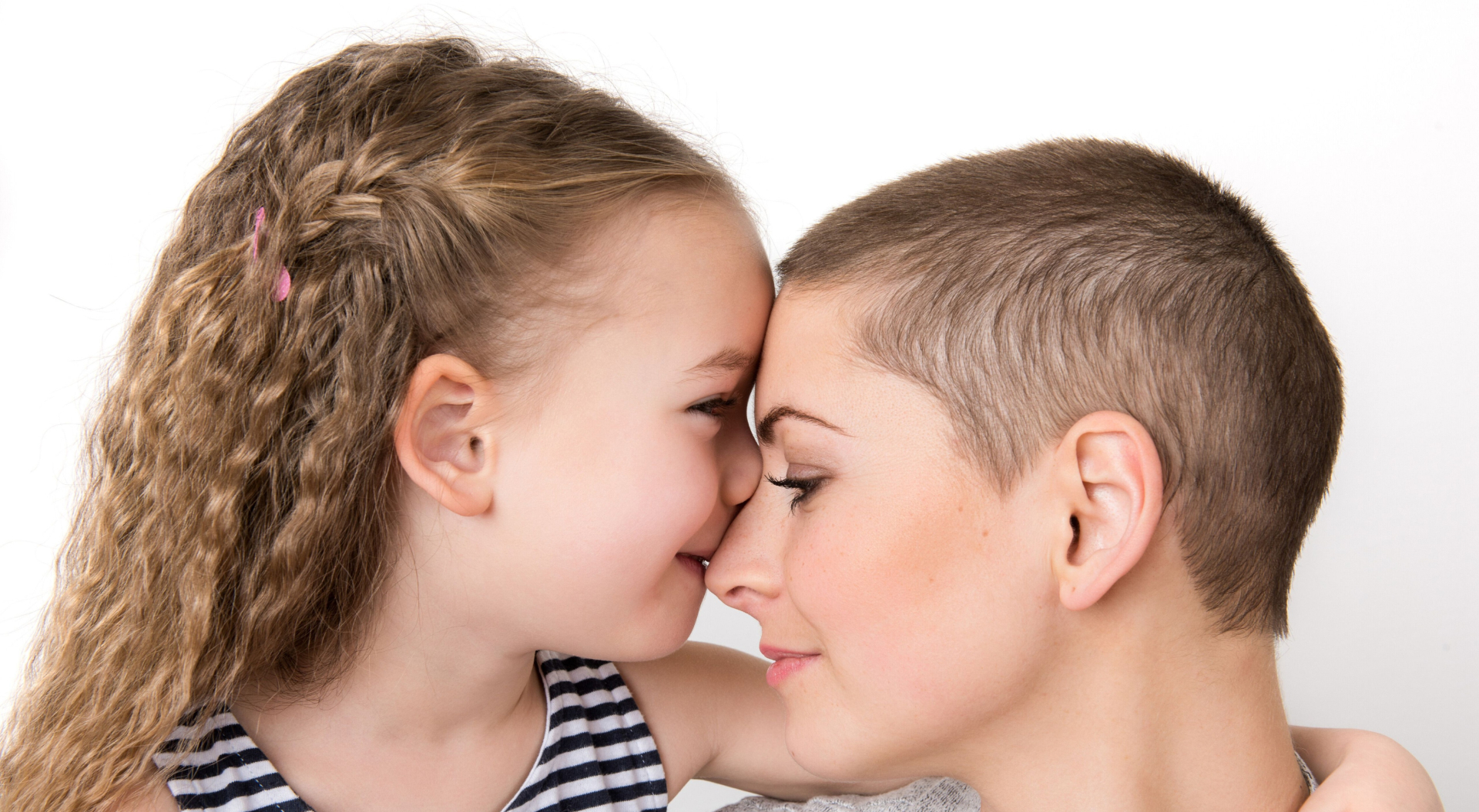 Daughter kissing mother on nose